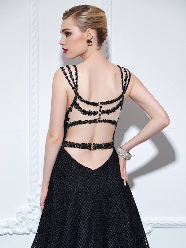 Amazing Hollow Back Button Beading Mermaid Evening Dress