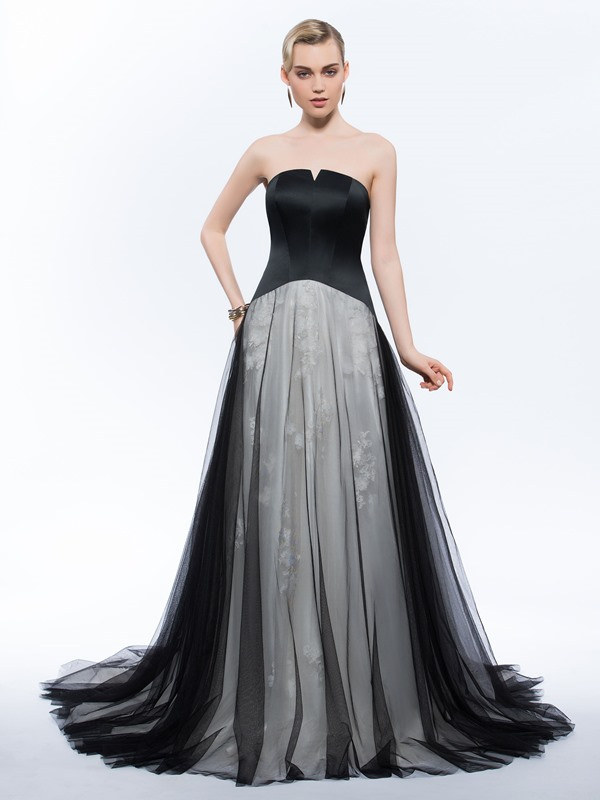 Vintage Strapless Appliques Tulle Evening Dress