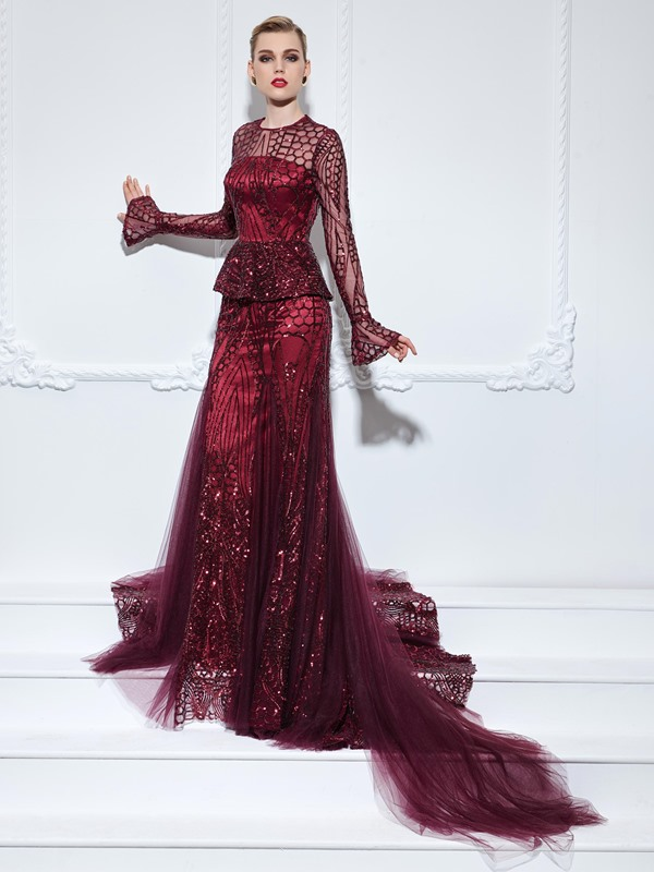 Vintage Long Sleeves Sequins Long Trumpet Evening Dress