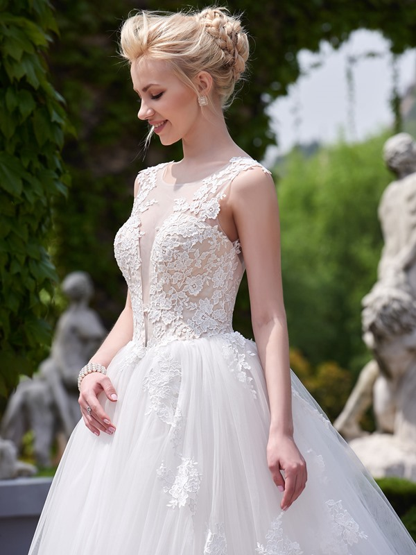 Illusion Neck A Line Appliques Sheer Back Wedding Dress