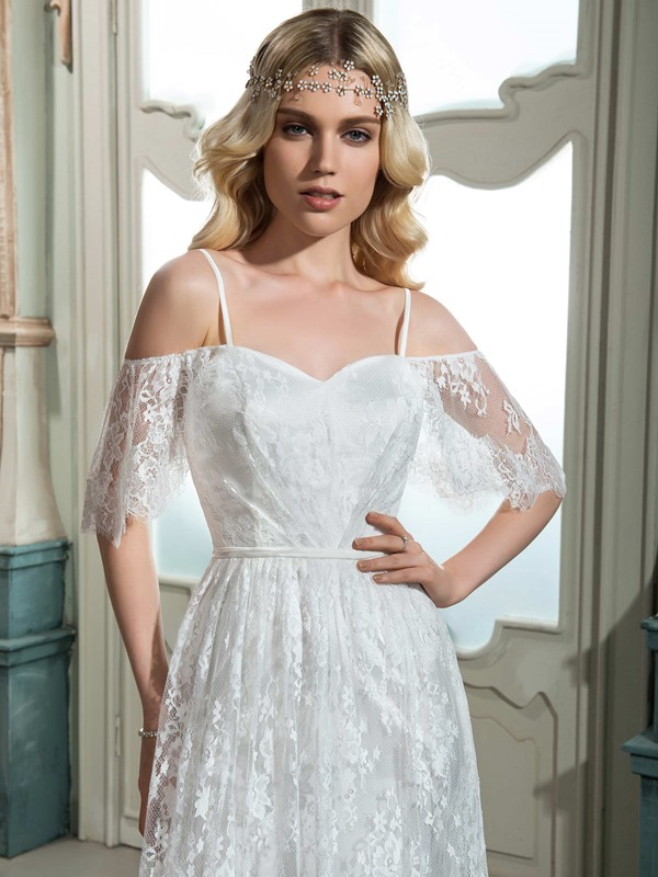 Spaghetti Straps Short Sleeve Lace Wedding Dress