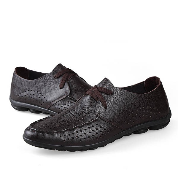 British Style PU Hollow Lace-Up Casual Shoes