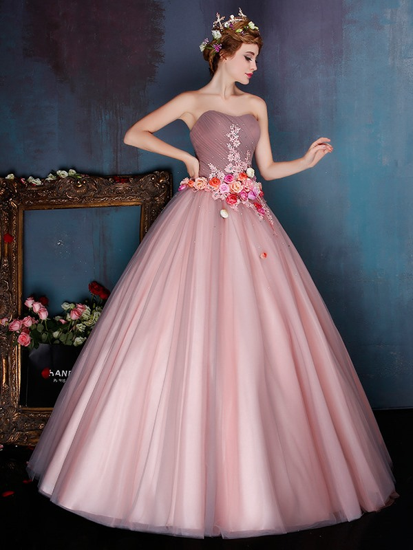 Vintage Strapless Ruched Appliuqes Flowers Floor-Length Ball Gown Dress