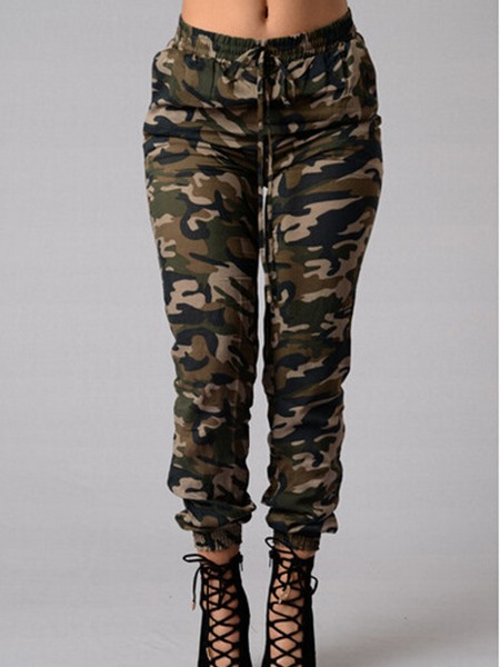 Vogue Camouflage Printing Ruched-Hem Women's Jeans