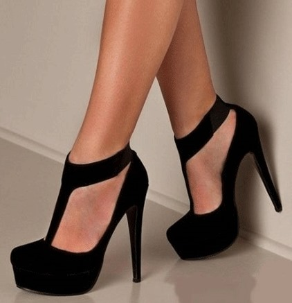 Suede Fabric T-Strap Zippered Heel Pumps