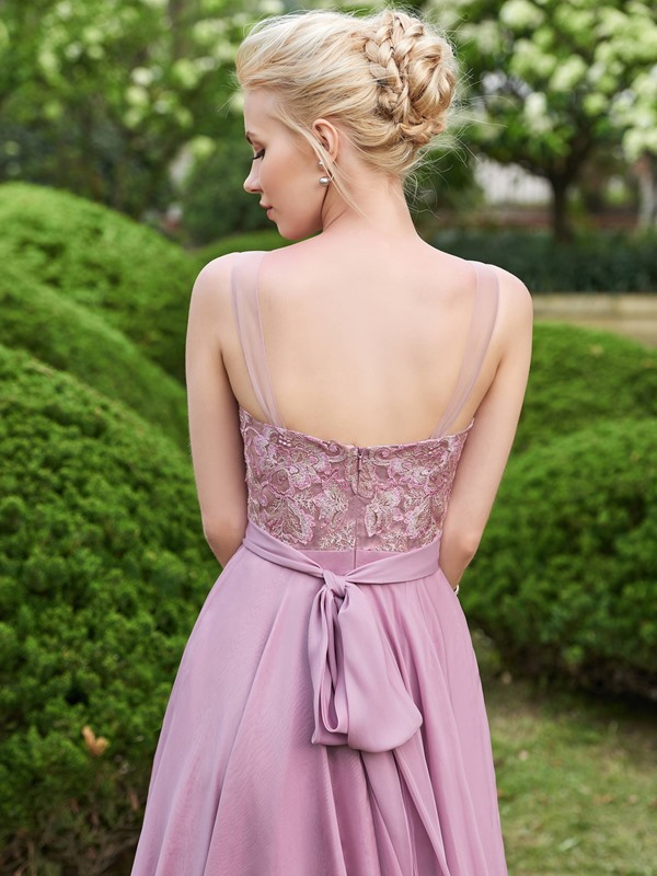 Beautiful Appliques Scoop Neck A Line Long Bridesmaid Dress