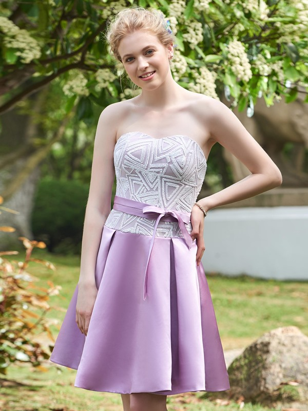 High Quality Strapless Sequins A Line Short Bridesmaid Dress