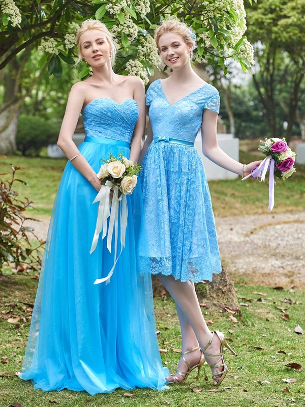 Beautiful Short Sleeves Knee Length Lace Bridesmaid Dress