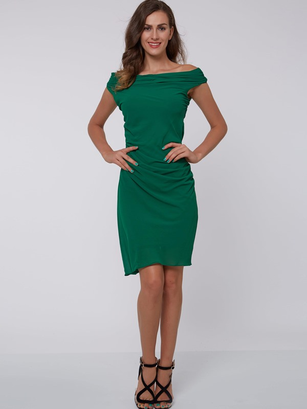 Off-the-Shoulder Pleated Women's Bodycon Dress
