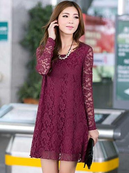 Plain Long Sleeve Women's Lace Dress