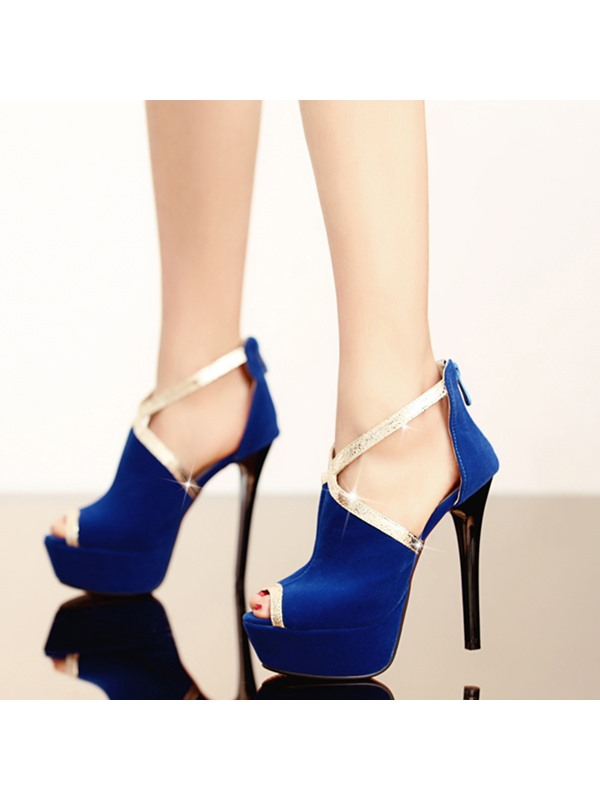 PU Peep-Toe Back-Zip Pumps