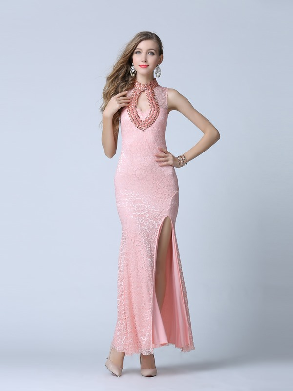 Amazing High Neck Beading Hollow Lace Evening Dress