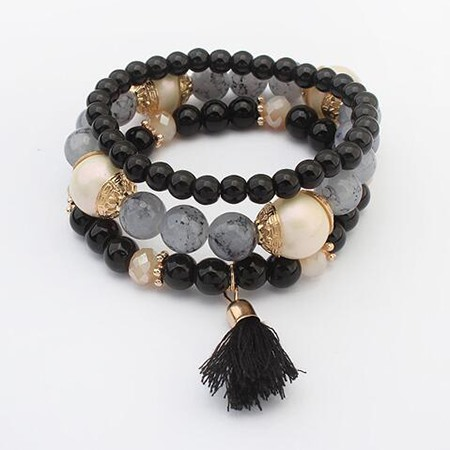 Multi-layer E-plating Women Bracelet with Tassel
