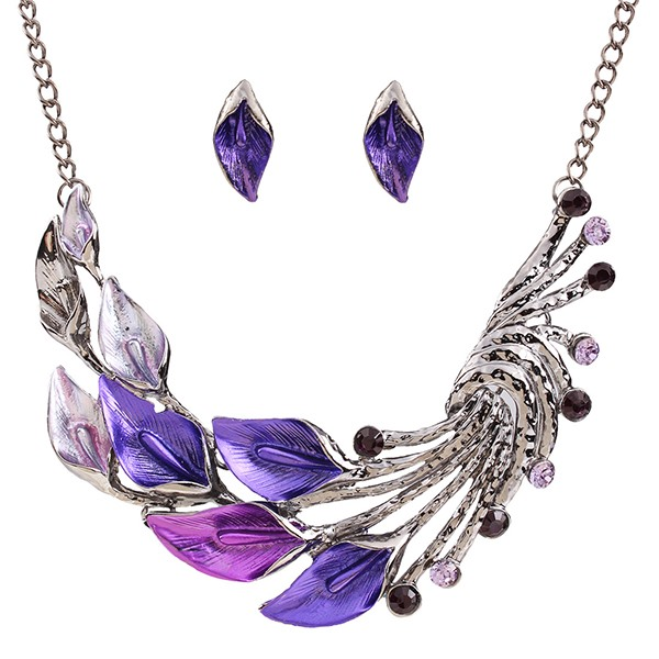 Colorful E-plating Leaves Shaped Jewelry Set