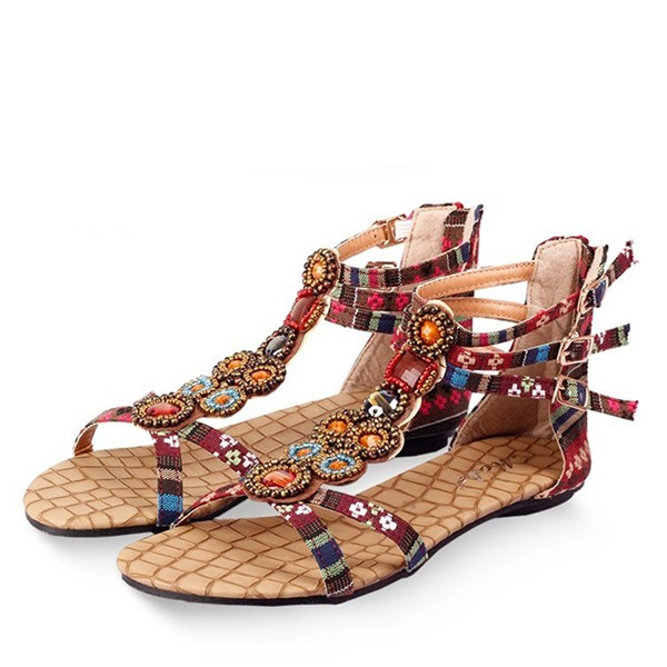 Boho Printed Back-Zip Flat Sandals