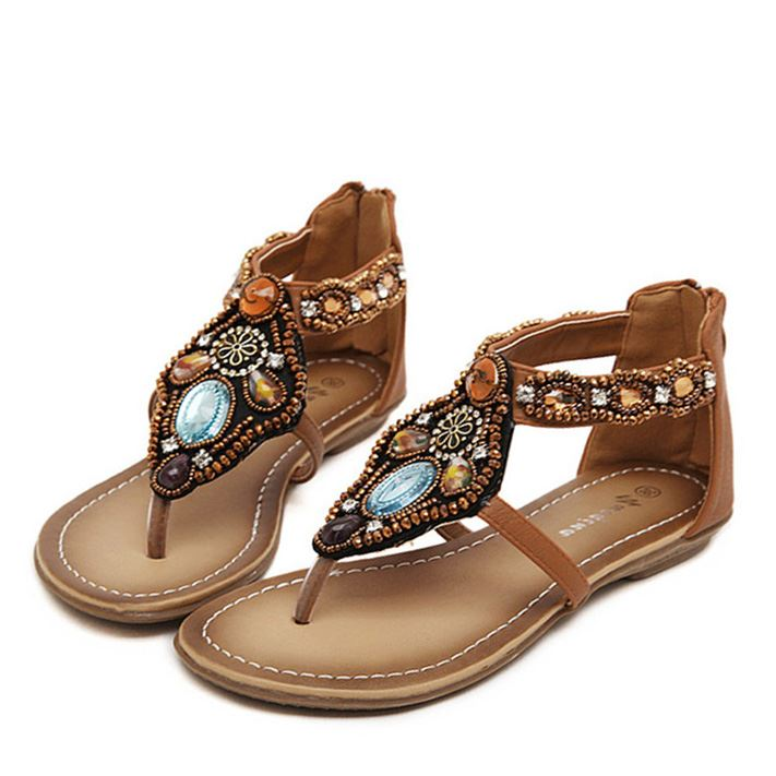 Boho Diamond Thong Flat Sandals