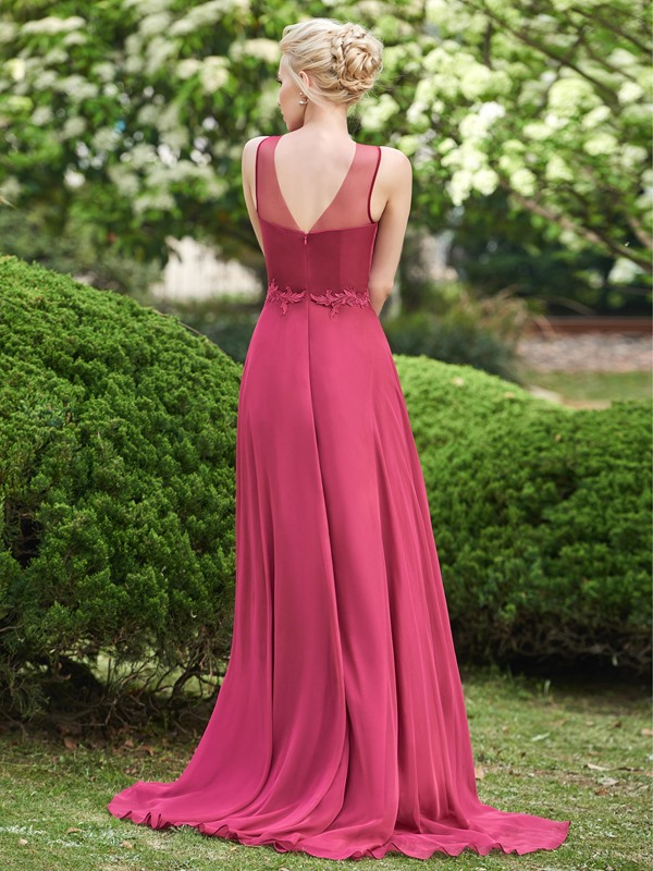 Elegant Jewel Neck A Line Applqiues Long Bridesmaid Dress