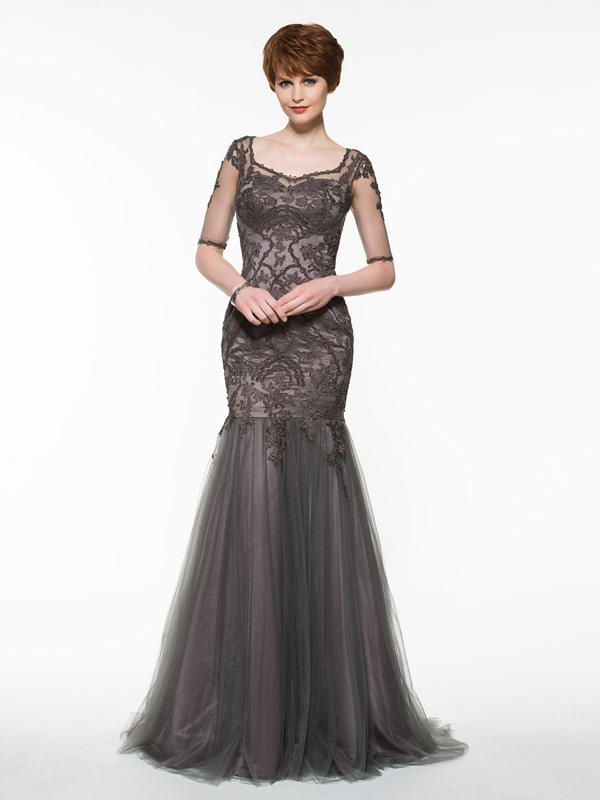 Beautiful Appliques Mermaid Mother of the Bride Dress With Sleeves