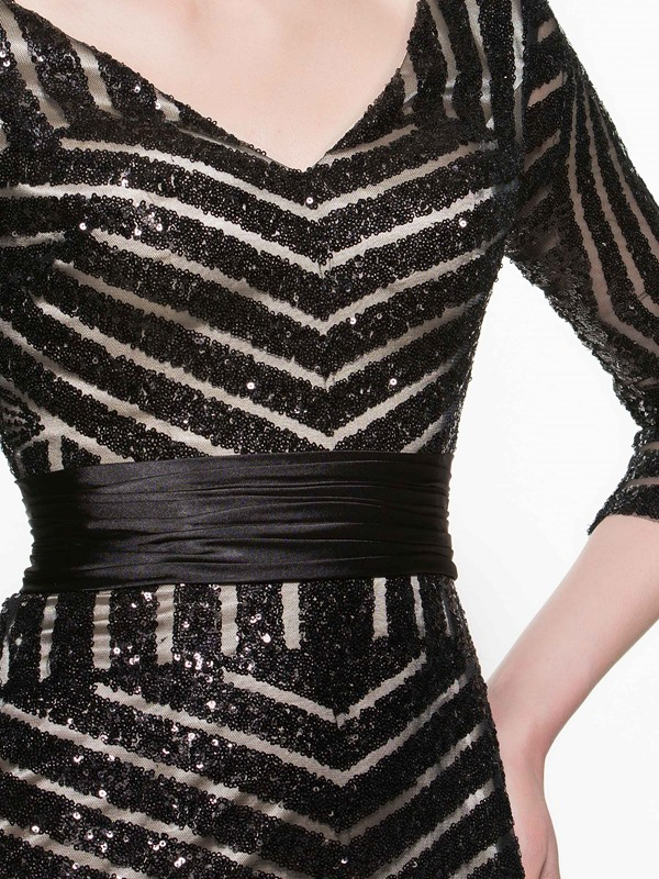 V Neck Sequins Mermaid Mother of the Bride Dress With Sleeves