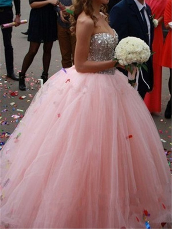 Glittering Sweetheart Beaded Ball Gown Color Tulle Wedding Dress