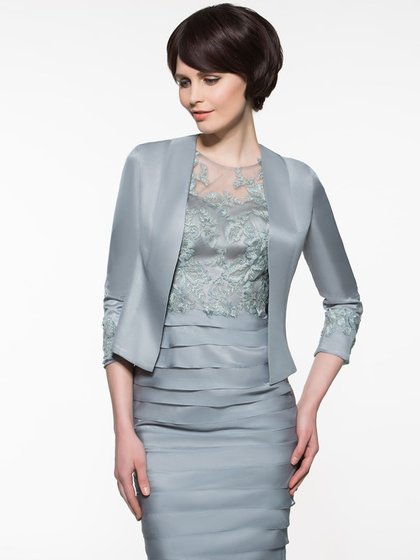 Stylish Jewel Neck Lace Tiered Sheath Mother of the Bride Dress With Jacket