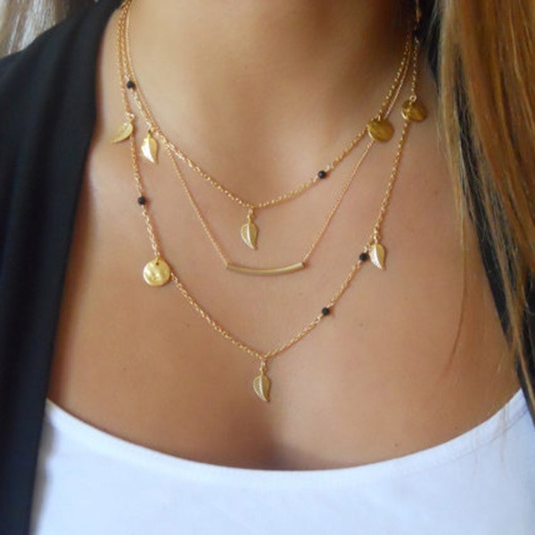 Sequins and Leaves Women Gold Layered Necklace