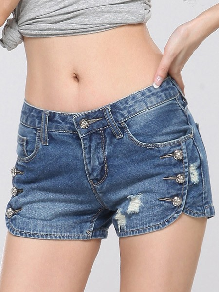 Simple Button Designed Frayed Shorts