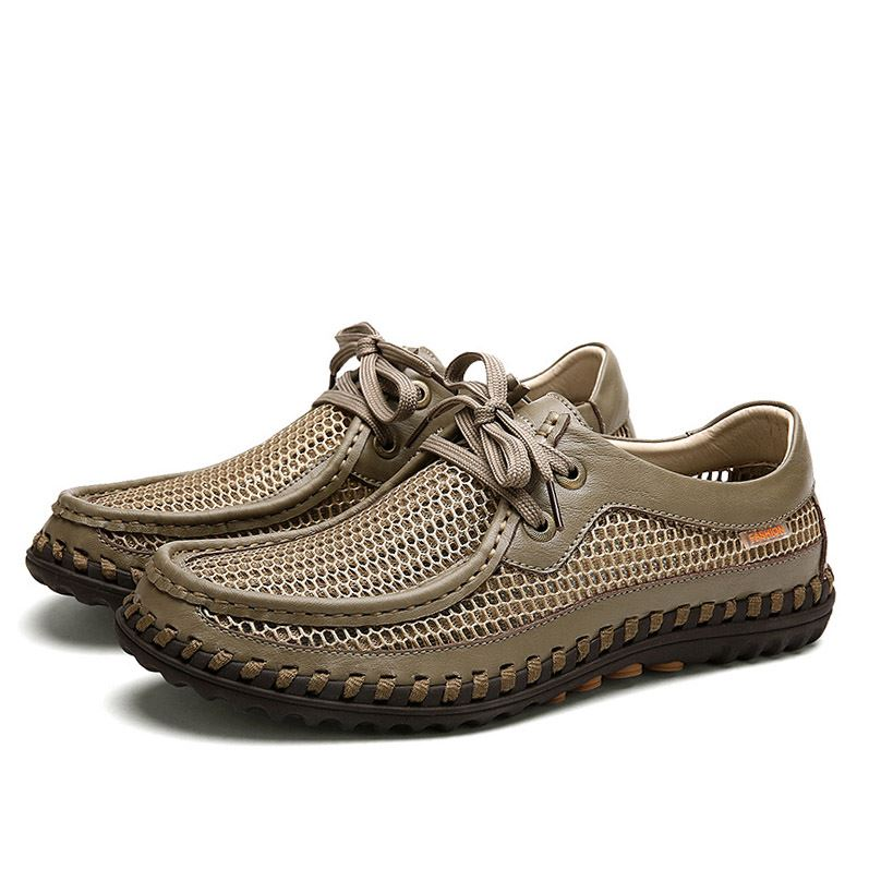 Breathable Mesh Lace-Up Casual Shoes for Men