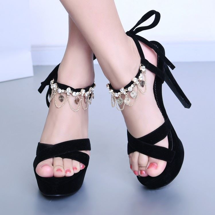 Black Chains Platform Lace-Up Sandals