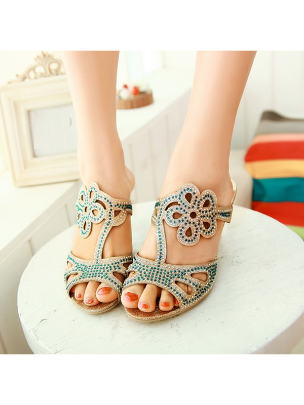 Rhinestone Peep-Toe Cut-Out Sandals