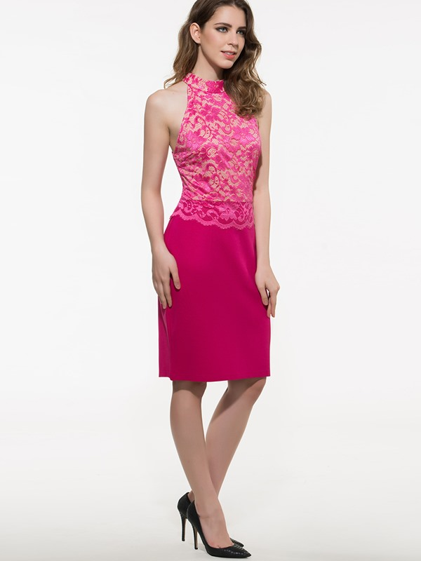 Solid Color Lace  Sleeveless Bodycon Dress