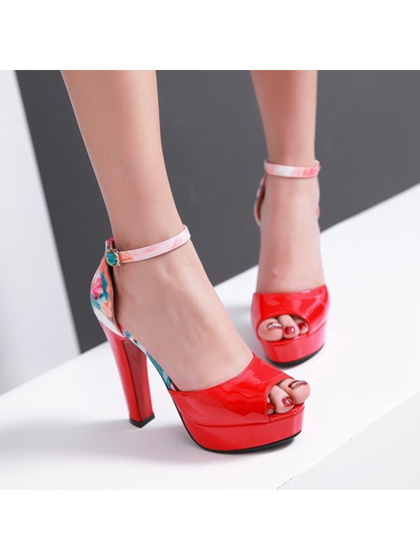 Floral Printed Chunky Heel Ankle Strap Sandals