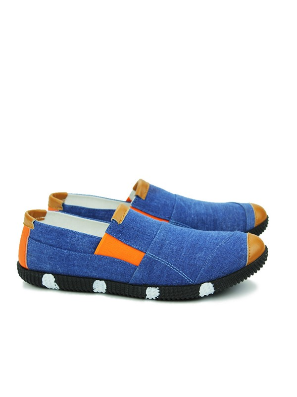 Color Block Canvas Round Toe Loafers