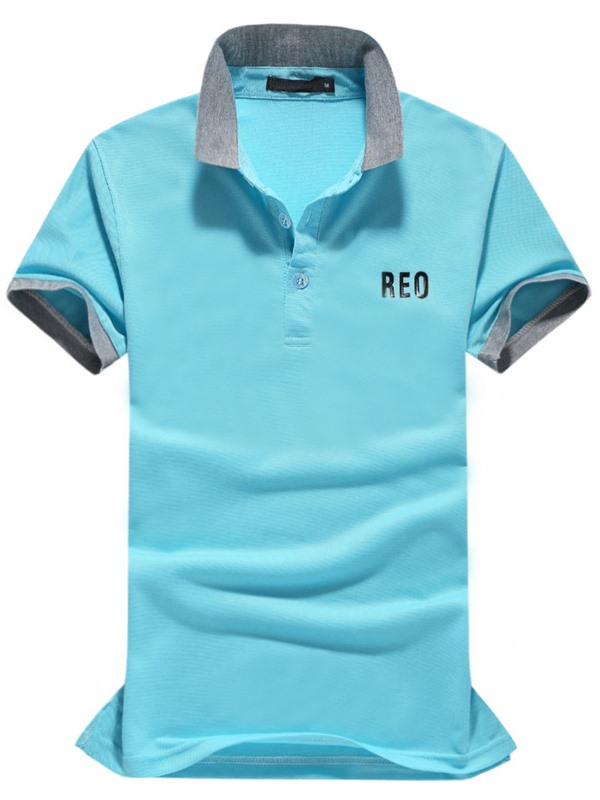 Color Block Men's Letter Printed Polo