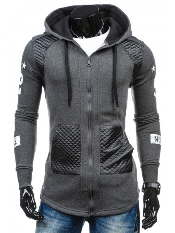 Patchwork Zip Slim Fit Casual Men's Hoodie