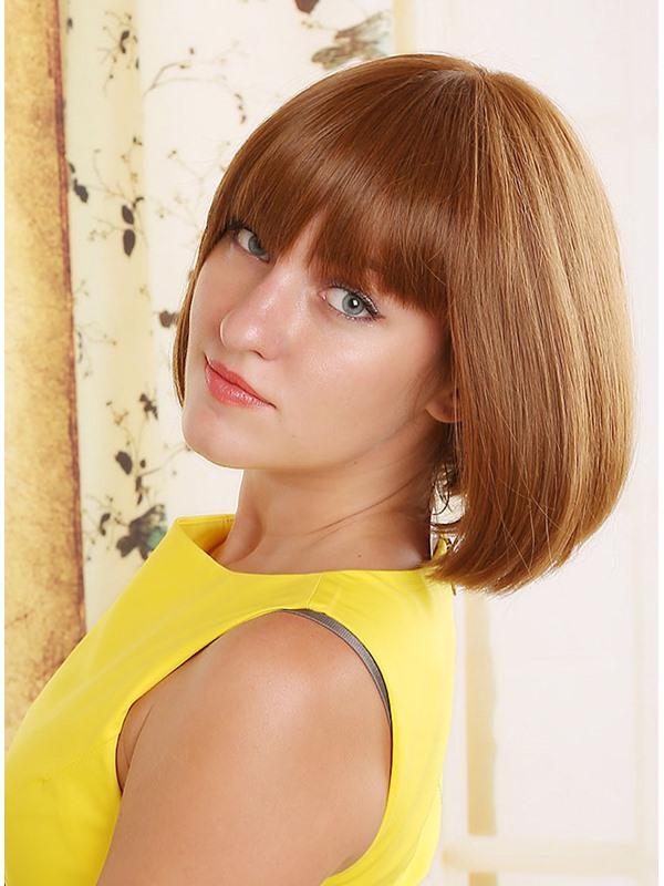 Short Straight Full Bang Bob Hairstyle Capless Synthetic Women Wigs 10 Inches(Free Shipping)