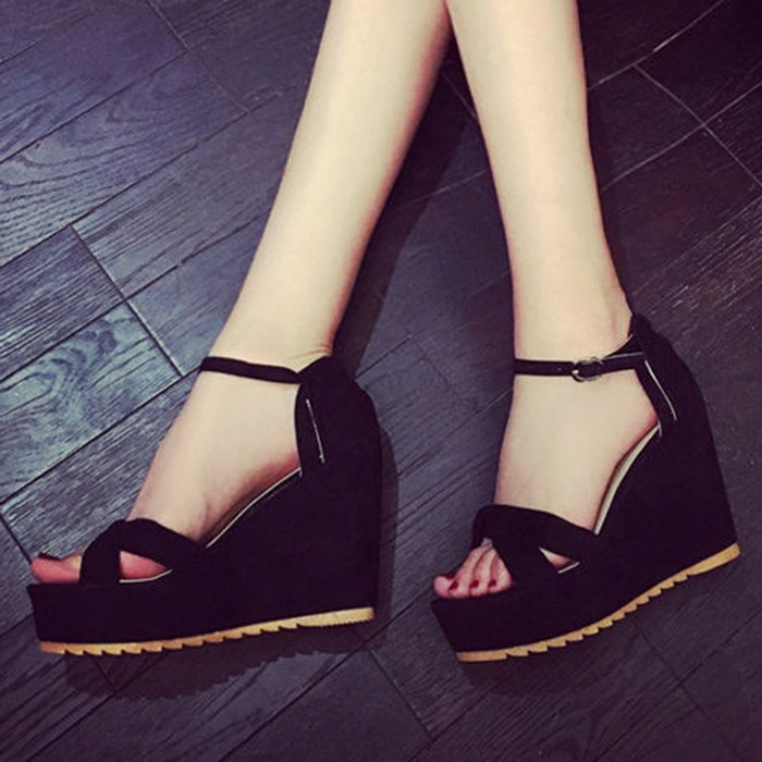 Solid Color Buckles Wedge Sandals