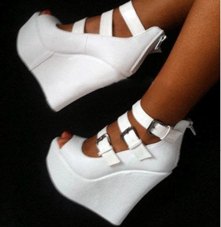 White Peep-Toe Buckles Wedge Sandals