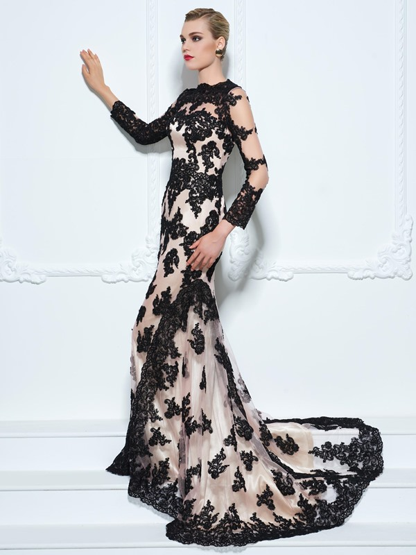 Vintage Long Sleeves Appliques Button Trumpet Evening Dress