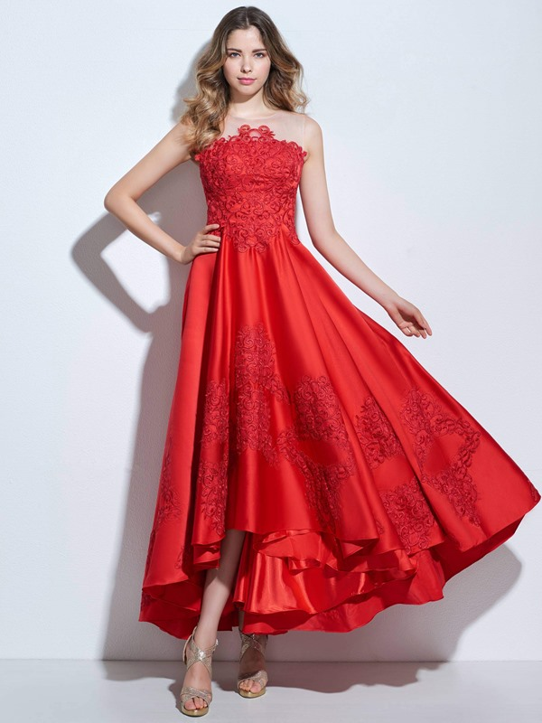 Modern Straps Appliques Asymmetrical Prom Dress