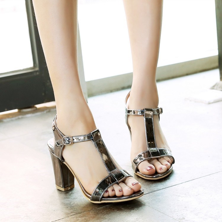 PU T-Strap Chunky Heel Sandals