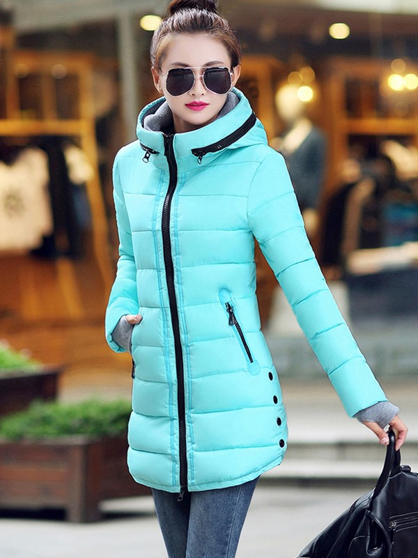 Stylish Splendid Zipper Decoration Collar Overcoat