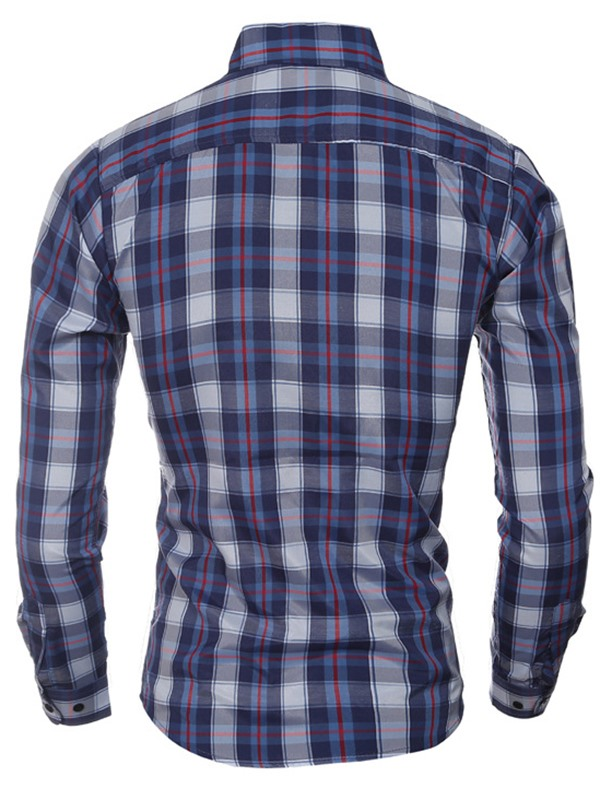 Plaid Casual Linen Blends Men's Long Sleeve Shirt