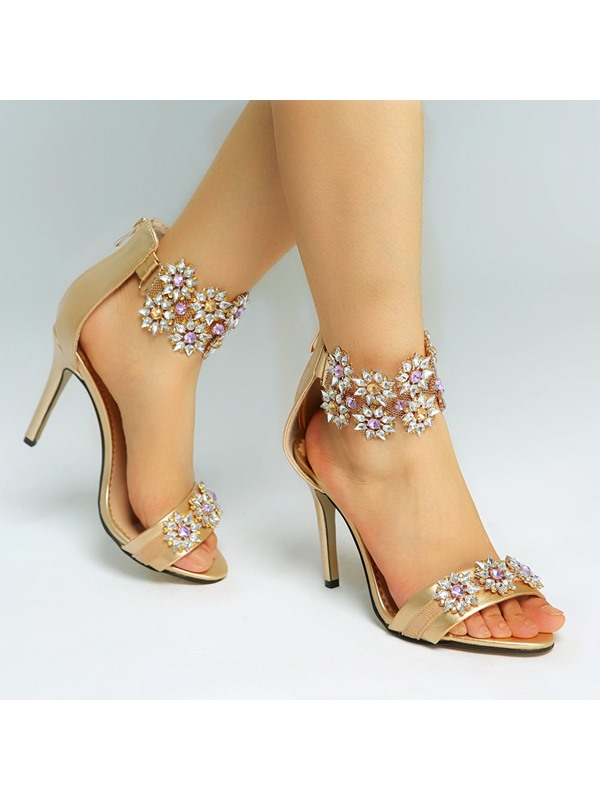 Luxury Rhinestone Back-Zip Stiletto Heel Sandals