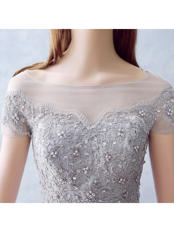 Bateau Neck Appliques Pearls Short Sleeves Long Prom Dress