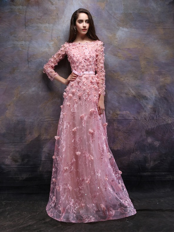 Bateau Neck Long Sleeves Flowers Lace Evening Dress