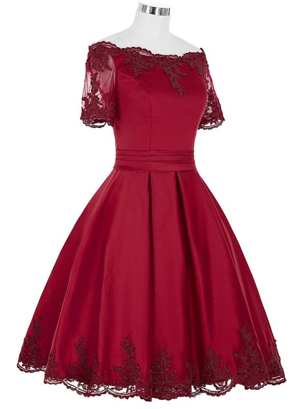 Off-the-Shoulder Appliques Short Sleeves Homecoming Dress