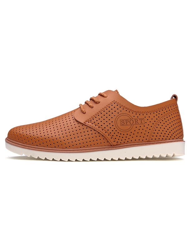 Solid Color PU Hollow Lace-Up Casual Shoes