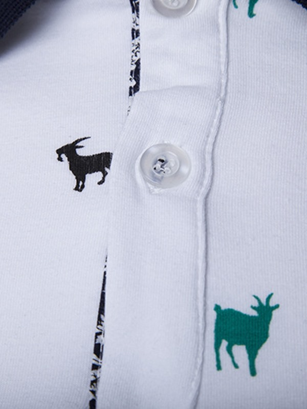 Animal Printed Color Block Men's Turn Down Collar Polo