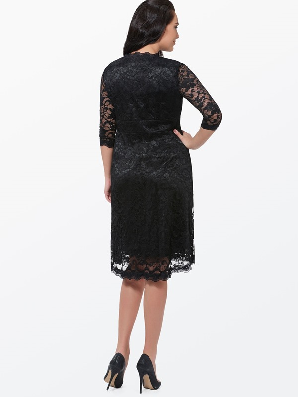 Plain V-Neck 3/4 Sleeve Plus Size Women's Lace Dress